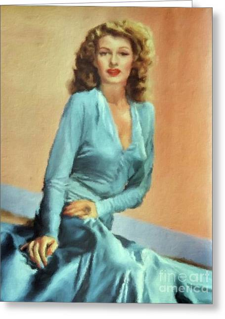 Rita Hayworth Vintage Hollywood Actress Greeting Card by Mary Bassett