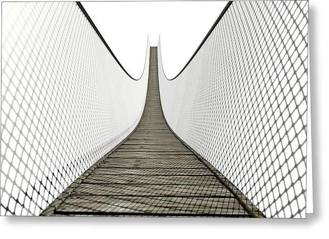 Rope Bridge On White Greeting Card by Allan Swart