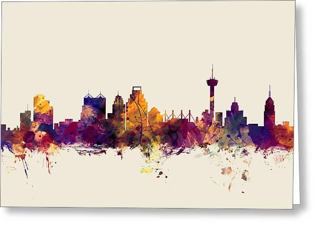 San Antonio Texas Skyline Greeting Card by Michael Tompsett