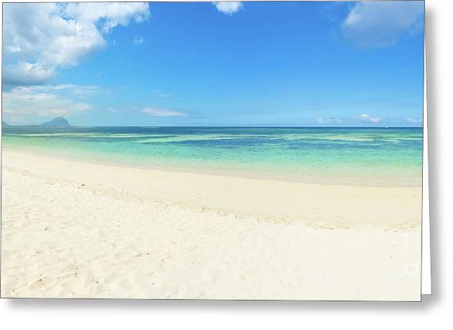 Sandy Tropical Beach. Panorama. Greeting Card