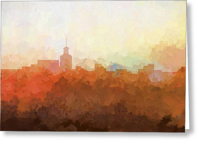 Greeting Card featuring the digital art Santa Fe New Mexico Skyline by Marlene Watson