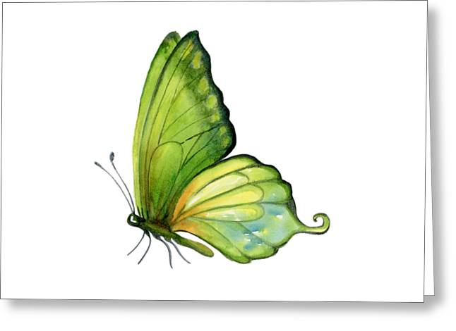 5 Sap Green Butterfly Greeting Card