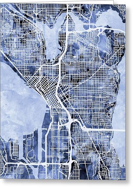 Seattle Washington Street Map Greeting Card