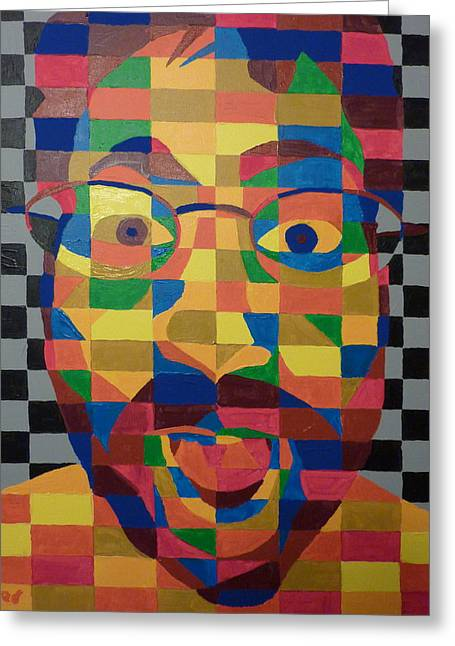 Greeting Card featuring the painting Self Portrait by Joshua Redman