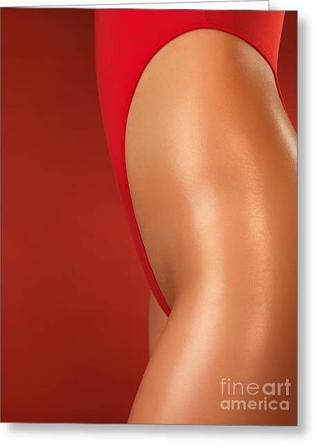 Sexy Young Woman In High Cut Swimsuit Greeting Card