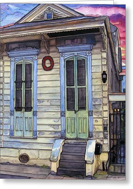 5  Shotgun House With Red Wreath Greeting Card by John Boles