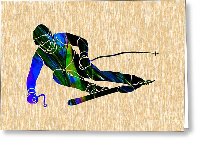 Skiing Greeting Card by Marvin Blaine