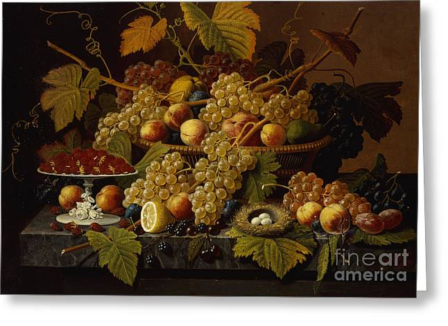 Still Life With Fruit Greeting Card by Severin Roesen