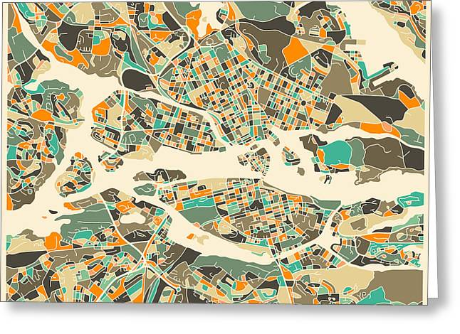 Stockholm Map Greeting Card by Jazzberry Blue