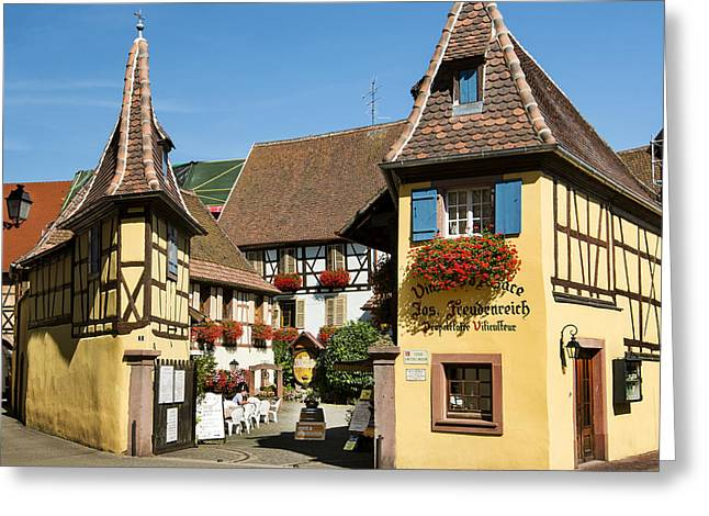 Streets Of Eguisheim Greeting Card by Yefim Bam