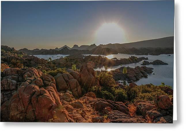 Sunrise At Watson Lake Greeting Card by Teresa Wilson