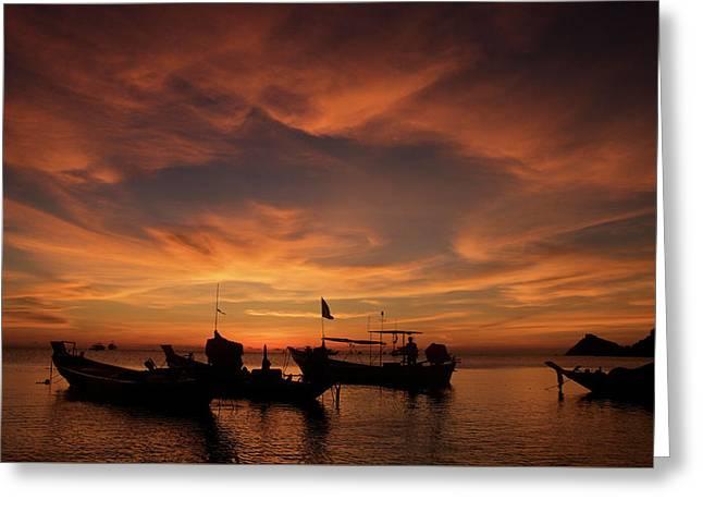 Sunrise On Koh Tao Island In Thailand Greeting Card by Tamara Sushko