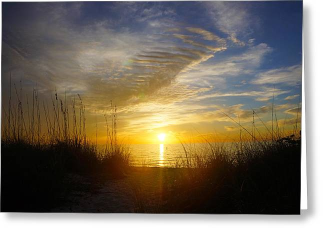 Sunset At Delnor Wiggins Pass State Park In Naples, Fl Greeting Card