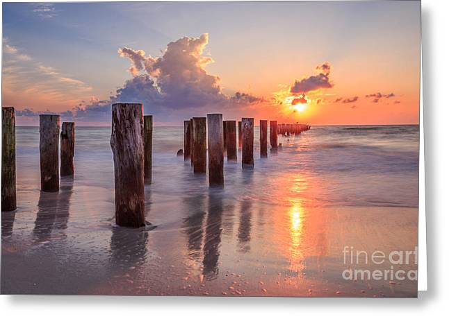 Sunset Naples Beach Florida Greeting Card