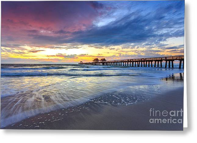 Sunset Naples Pier, Florida Greeting Card