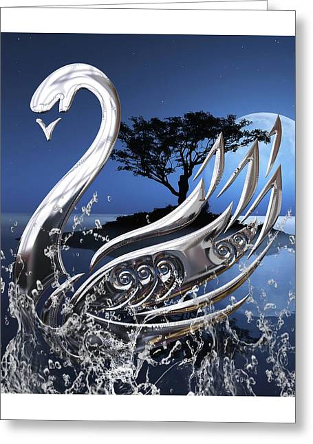 Swan Art. Greeting Card by Marvin Blaine