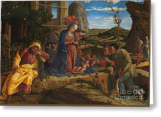 The Adoration Of The Shepherds Greeting Card by Andrea Mantegna