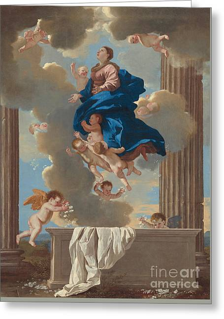 The Assumption Of The Virgin Greeting Card by Nicolas Poussin