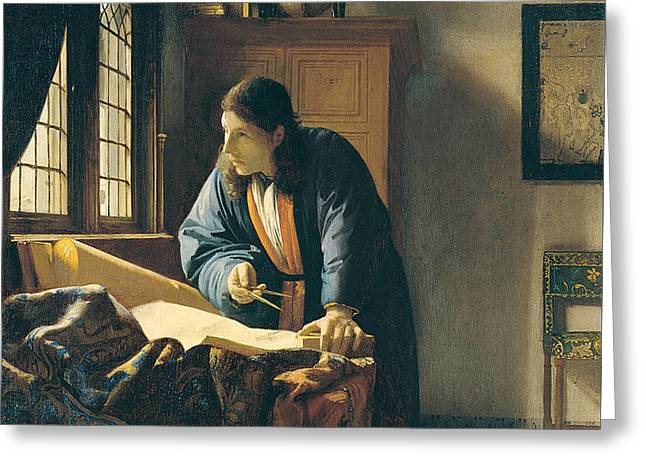 The Geographer Greeting Card by Johannes Vermeer