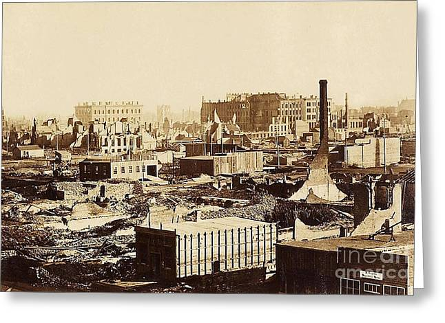 The Great Chicago Fire, 1871 Greeting Card by Science Source