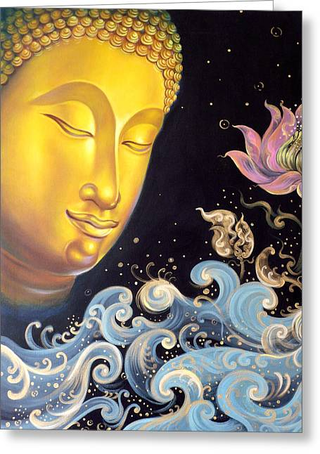 Greeting Card featuring the painting The Light Of Buddhism by Chonkhet Phanwichien