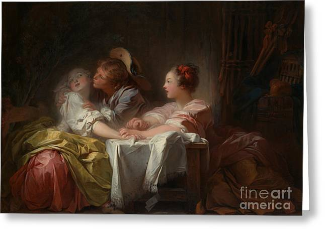 The Stolen Kiss Greeting Card by Jean Honore Fragonard