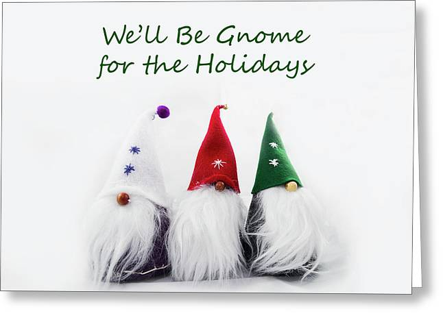 Three Holiday Gnomes 2a Greeting Card