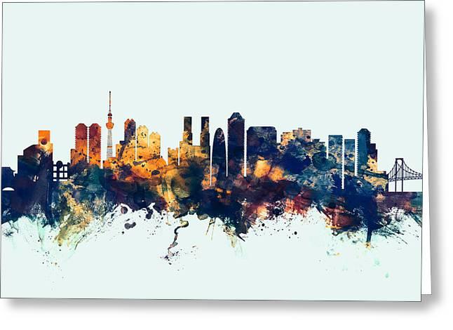 Tokyo Japan Skyline Greeting Card by Michael Tompsett