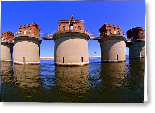 5 Towers At Dreher Shoals Dam On Lake Murray Sc Greeting Card by Lisa Wooten