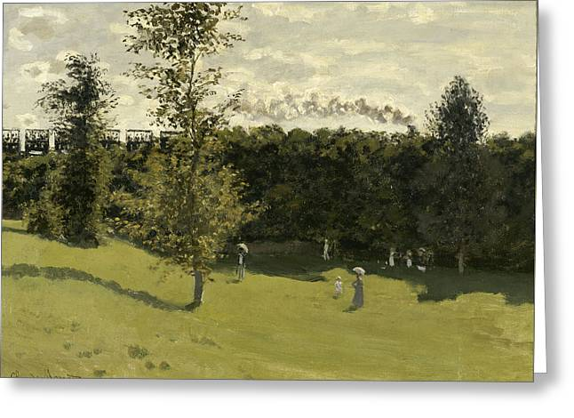 Train In The Countryside Greeting Card by Claude Monet