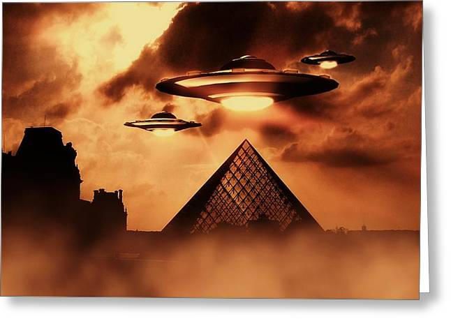 Ufo Invasion Force Greeting Card by Raphael Terra