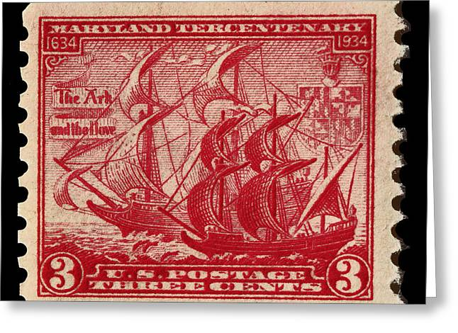 Old Sailing Ship Postage Stamp Greeting Card by James Hill
