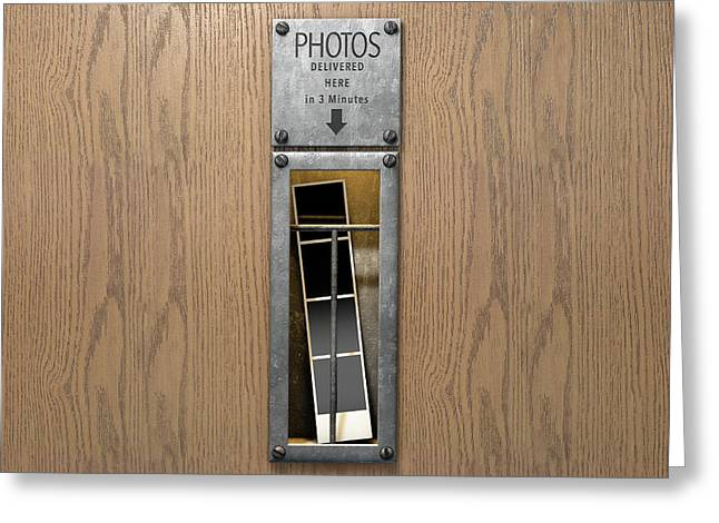 Vintage Photo Booth Pickup Slot Greeting Card by Allan Swart
