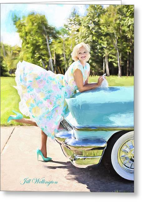 Vintage Val In The Turquoise Vintage Car Greeting Card