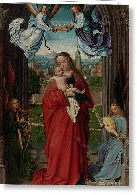 Virgin And Child With Four Angels Greeting Card