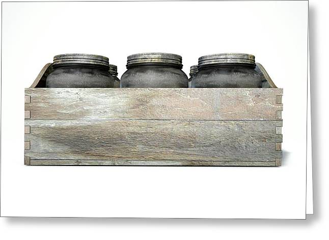 Whiskey Jars In A Crate Greeting Card by Allan Swart