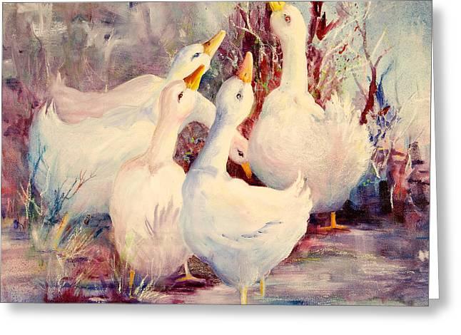 5 White Geese Greeting Card