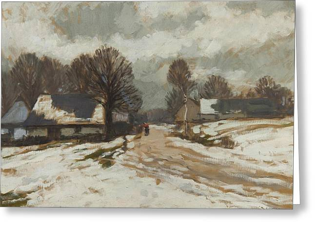 Winter Landscape Greeting Card by Gustav