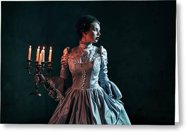 Woman In Victorian Dress Greeting Card by Evgeniia Litovchenko