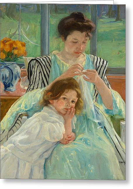 Young Mother Sewing Greeting Card