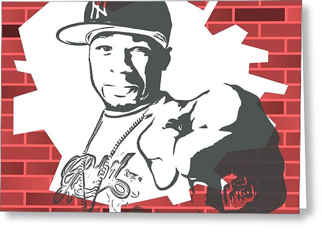 50 Cent Graffiti Tribute Greeting Card by Dan Sproul