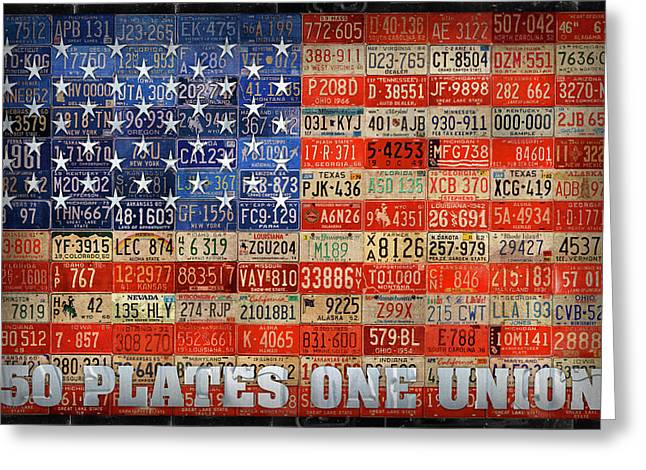 50 Plates One Union Recycled License Plate American Flag Greeting Card