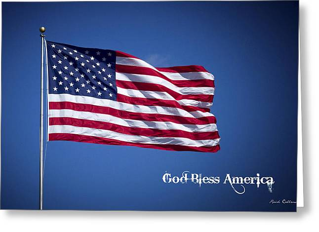 50 Stars Thirteen Stripes American Flag  God Bless America Greeting Card