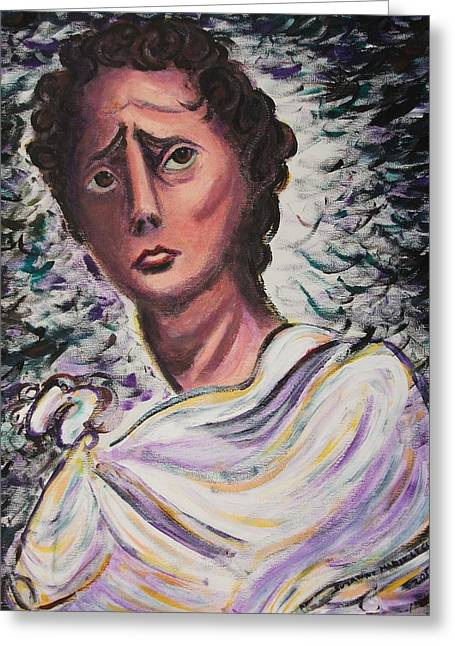 Statue Portrait Paintings Greeting Cards - Untitled Greeting Card by Suzanne  Marie Leclair