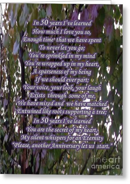 50 Year Anniversary Poem Greeting Card by Cynthia Parker