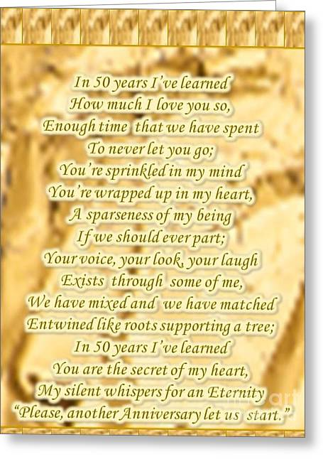 50 Year Golden Anniversary Greeting Card by Cynthia Parker