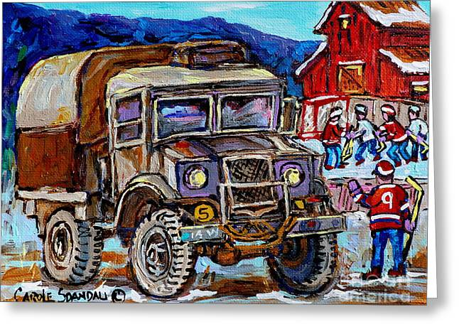 50's Dodge Truck Red Wood Barn Outdoor Hockey Rink  Art Canadian Winter Landscape Painting C Spandau Greeting Card