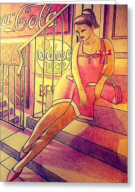 50,s Pinup Greeting Card by Mark Jenkinson