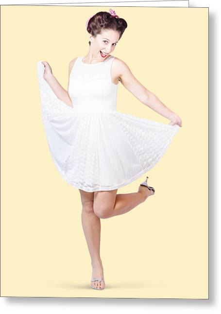 50s Pinup Woman In White Dress Dancing Greeting Card by Jorgo Photography - Wall Art Gallery