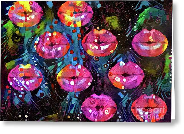 Kissing Lips Greeting Card by Amy Cicconi